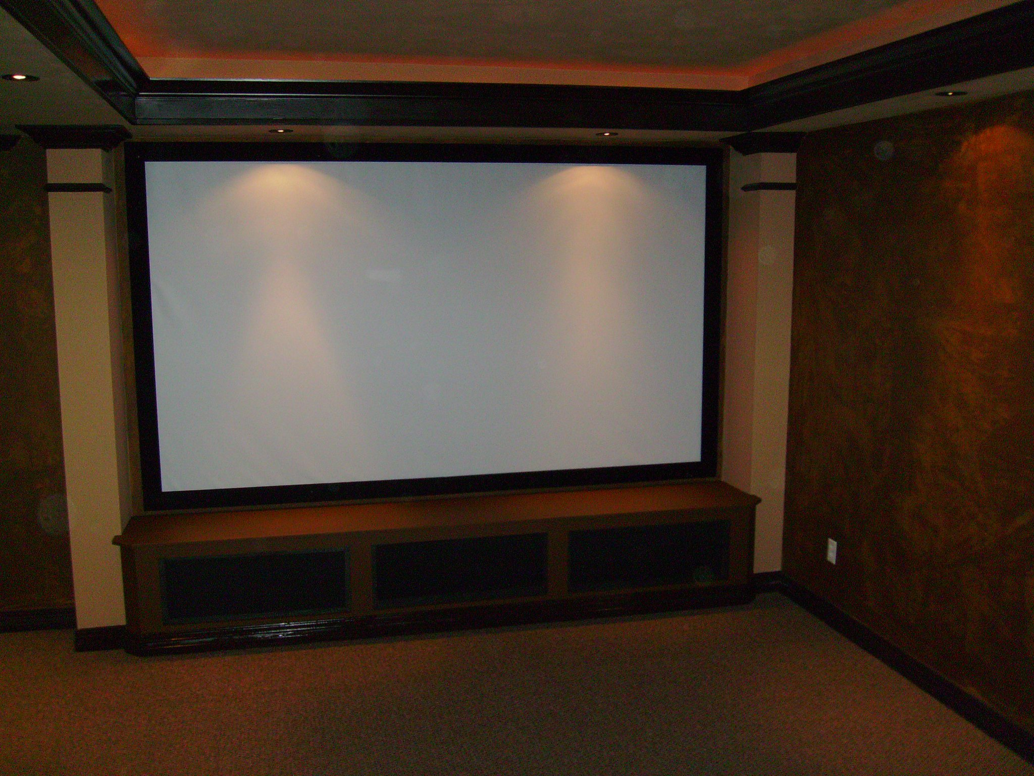 Media rooms with big screen tv interior design company for Furniture for media room